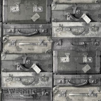 Used Look non-woven Suitcase Dark Rough