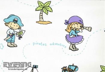 Non-woven wallpaper girl pirate white