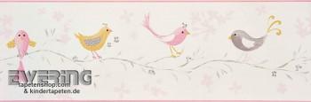 Borte Creme-Weiß Papiertapete Vögel