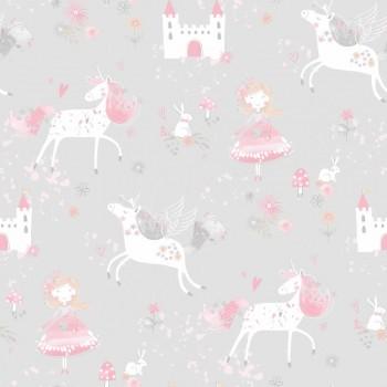 Wallpaper non-woven grey unicorns