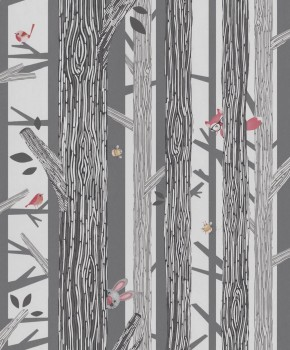 non-woven wallpaper trees birds black