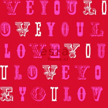 non-woven wallpaper love red pink