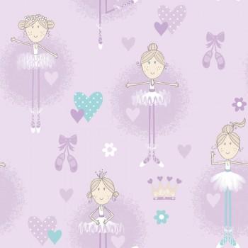 Wallpaper non-woven bright purple ballerina