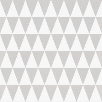 Vliestapete Dreiecke Grau Weiß