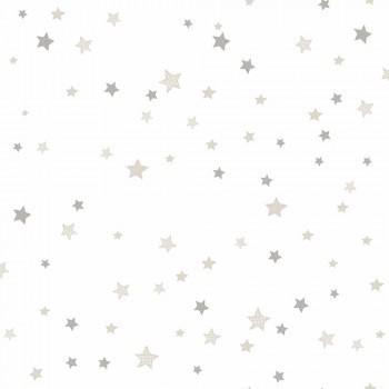 Tapete Sterne Beige Grau Kinder