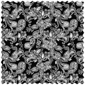 Deco Fabric Funky Flowers Paisleys Black White