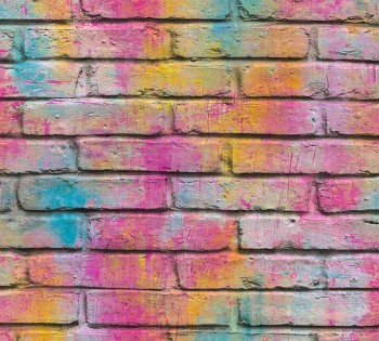 Non-woven wallpaper Colourful wall look