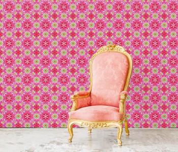 Wandbild Pink Blumen Kaleidoskopmuster