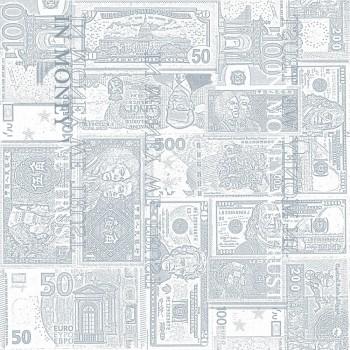 Tapete Blass-Blau Geldscheine