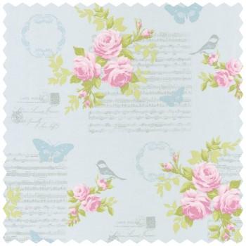 Decoration fabric light-blue motives flowers