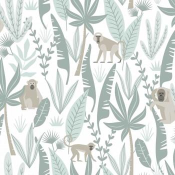 Tapete Weiß Grüner Dschungel