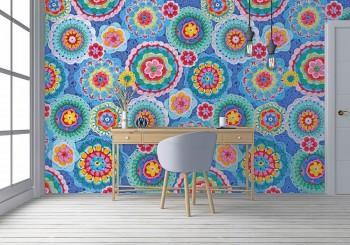 Mural crochet pattern flowers blue colourful