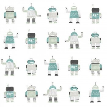 Vliestapete Roboter Türkis