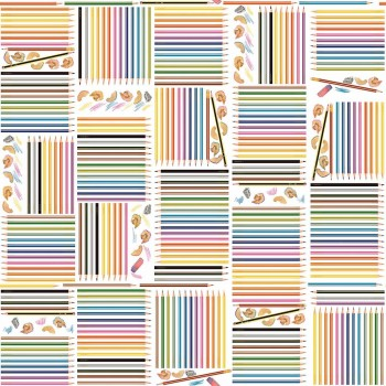 Wallpaper non-woven colourful pencils