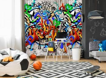 Mural beige colourful graffitis