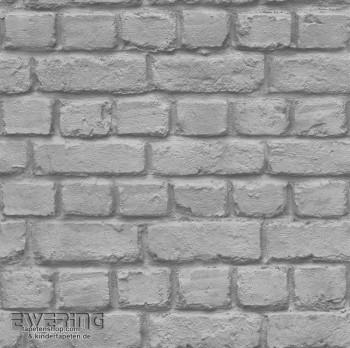 Papiertapete Maueroptik Grau