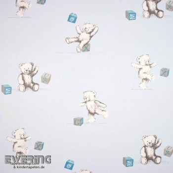Baby blue deco fabric teddy bear